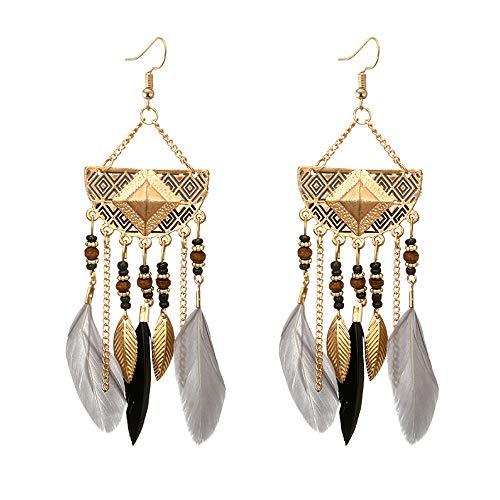 Tassel Shaped (Celiy Women Bohemian Fan-Shaped Beaded Tassel Feather Earrings (Gray))