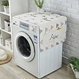 Washer Dust Cover Roller Washing Machine Covers, Fridge Dust Cover Multi-purpose Washing Machine Top Cover, Storage Bag for Refrigerator and Washing Machine, 55'' x 22'' (Grey cover)