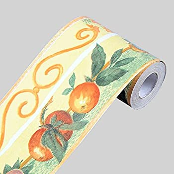 SimpleLife4U Fruit Orange Wallpaper Border Self-adhesive