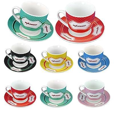 Adorox Espresso 12 pcs. Mug Set Mini Small Ceramic Cups and Saucers Colorful Polka Dots Pattern Theme 6 Mugs & 6 Saucers.