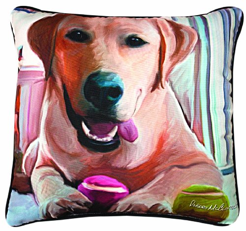 Cats Accessories Country Bath (Manual Tennis Anyone Yellow Lab Paws and Whiskers Decorative Square Pillow, 18-Inch)