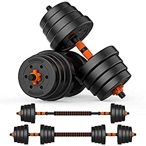 Well-Being-Matters 515Ab1e6jsL._SS300_ BOSWELL Adjustable Weights Barbell Dumbbells Set, 2 in 1 Non-Slip Neoprene Hand with Connecting Rod for Adults Women Men…