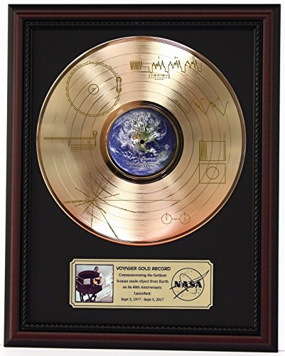 VOYAGER ONE - SOUNDS OF THE EARTH GOLD LP RECORD FRAMED CHERRYWOOD DISPLAY