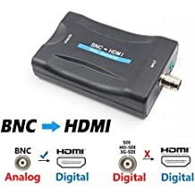 BNC to HDMI Video Converter - Female BNC HDMI Connector Audio Composite Adapter Component Box for HD TV Monitor Security Camera CCTV DVRs w/720 1080P Output HDCP Deep Color