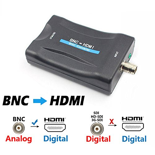 BNC to HDMI Converter Adapter - Female BNC HDMI Connector Video & Audio Input Composite Adaptor Component for HD TV Monitor Security Camera CCTV DVRs w/ 720 1080P Output HDCP Deep Color (Component Sdi)