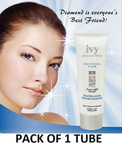 JAPAN & KOREA'S FAVOURITE FACE WASH - ONE TUBE of IVY DIAMOND WHITE Milk Facial Cleanser with MICRO-DIAMOND PARTICLES & GOAT MILK (180G / 6.3 OZ each TUBE) by Leivy - Anti-aging Whitening Moisturizing