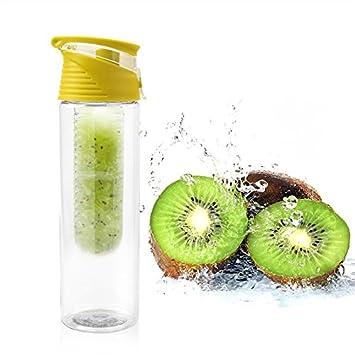 Botella con filtro interior para fruta infusiones color amarillo