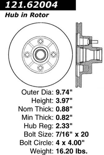 Centric Parts 121.62004 C-Tek Standard Brake Rotor