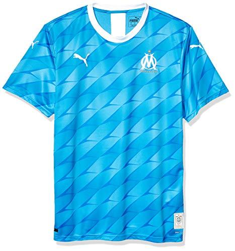 PUMA Men's Standard Olympique de Marseille OM Shirt Replica with Sponsor, Away Bleu Azur White, S