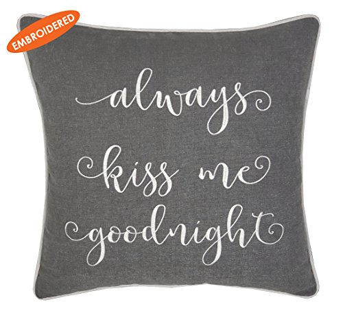 ADecor Pillow Covers Always Kiss me goodnight Pillowcase Embroidered Pillow cover Decorative Pillow Standard Cushion Cover Gift Love Couple Wedding P336 (18x18, Grey) by ADecor