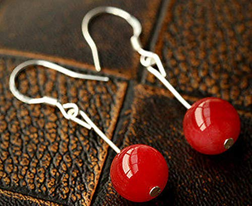 FidgetKute 10-14mm Red Jade Gemstone Silver Hook Dangle Earrings 14mm14mm ()