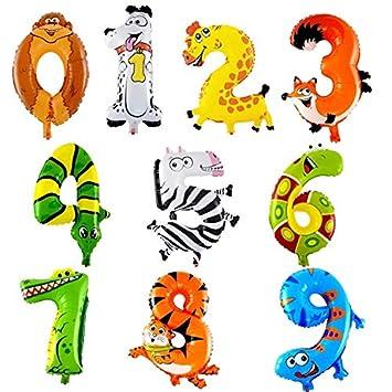 XUNKE 10PCS Número Animales Globos de Helio para Cumpleaños Fiesta de Bienvenida al Bebé para niños Fiesta de cumpleaños Decoración Animal Balloon, ...