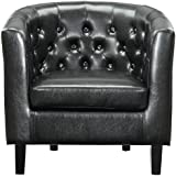 Modway EEI-813-BLK Prospect Upholstered Fabric Contemporary Modern Accent Arm Chair Faux Leather Black