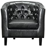 Modway EEI-813-BLK Prospect Upholstered Fabric Contemporary Modern Accent Arm Chair Faux Leather Black Review