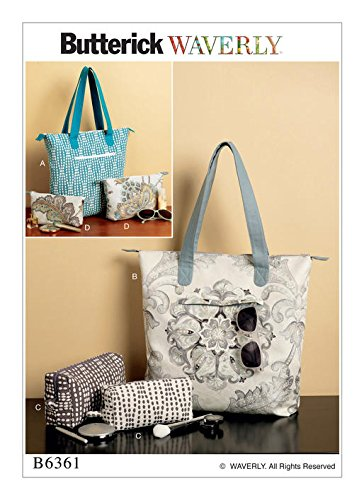 BUTTERICK B6361 WAVERLY TOTE BAG AND POUCHES SEWING PATTERN