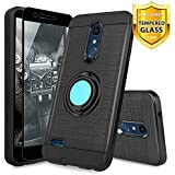 TJS LG K10 2018/K30/Premier Pro LTE/Harmony 2/Phoenix Plus Case, with [Tempered Glass Screen Protector] Ultra Thin Slim Hybrid Shockproof Armor with Ring Stand Phone Case (Black)