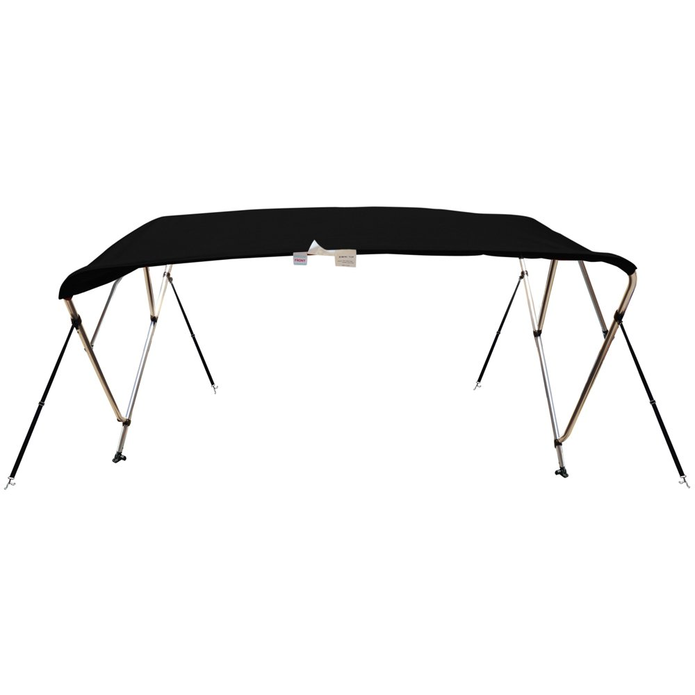 Naviskin Black 4 Bow 8'L x 54'' H x 54''-60'' W Bimini Top Cover Includes Mounting Hardwares,Storage Boot with 1 Inch Aluminum Frame