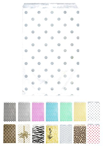 (Novel Box® Silver Polka Dot Print Paper Gift Candy Jewelry Merchandise Bag Bundle 6X9