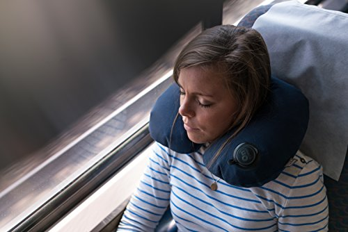 Lewis N. Clark On Air Adjustable and Inflatable Neck Pillow Perfect for Travel, Blue