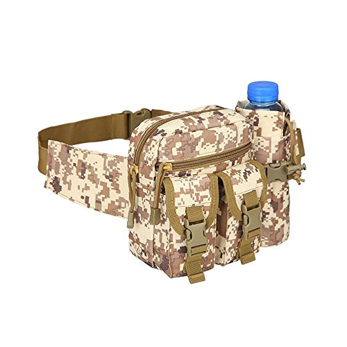 Teammao Tactical Waist Pack Fanny Pack Military Waist Bag Water Bottle Holder Cycling Camping Hiking Hunting Fishing (Desert Digital) by Teammao