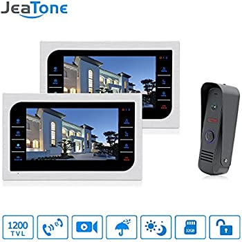 JeaTone 10 Inch TFT Wired Video Door Phone Intercom Security Camera Doorbell Home Security Camera System 32GB SD Card Video Record Monitor Door Video Camera ...