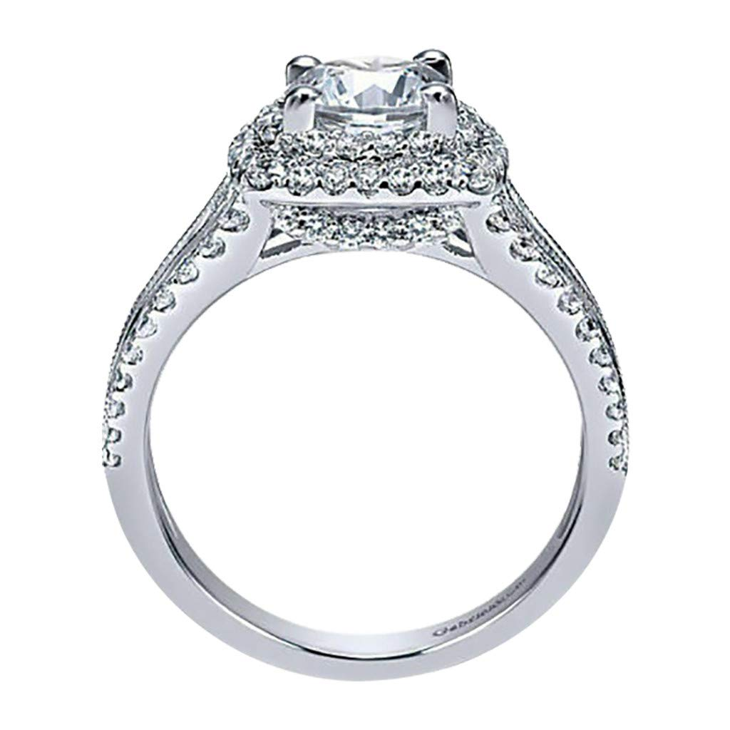 Allywit Ring Round Diamond Cut Cubic Wedding Band Accessory Rings Size 5-10 Silver, 5
