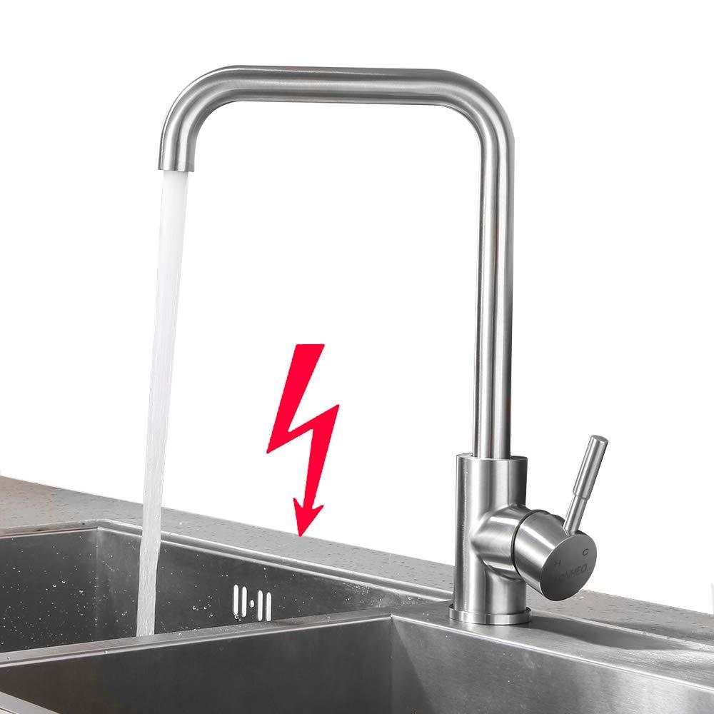 Kinse Niederdruck Wasserhahn Küche Armatur aus Edelstahl  19