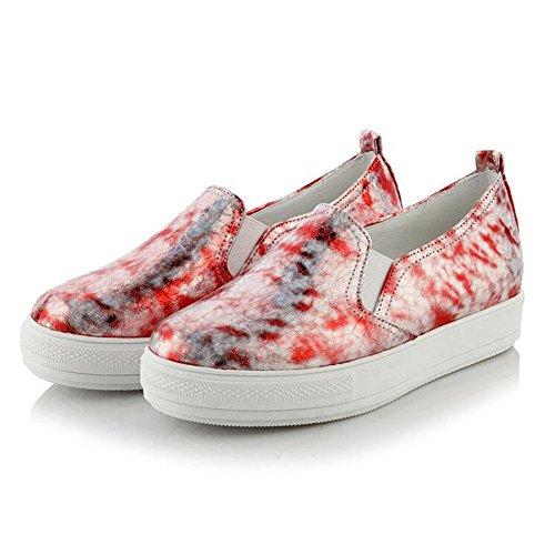 Summerwhisper Women's Fashion Glitter Elastic Slip on Flats Shoes Platform Low Top Sneakers Red 8.5 B(M) US