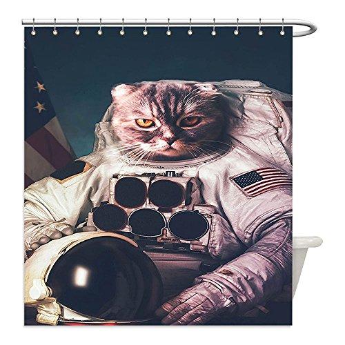 Astronaut Costume Helmet Diy (Liguo88 Custom Waterproof Bathroom Shower Curtain Polyester Space Cat Vintage Image Astronaut Kitty with American Flag with Helmet Image White Red And Dark Blue Decorative bathroom)