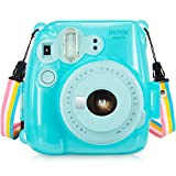 Fujifilm Instax Mini 8 / Mini 8+ / Mini 9 Crystal Case - Wolven Crystal Camera Case With Adjustable Rainbow Shoulder Strap for Fujifilm Instax Mini 8 / Mini 8+ / Mini 9 Instant Camera - Mint Clear