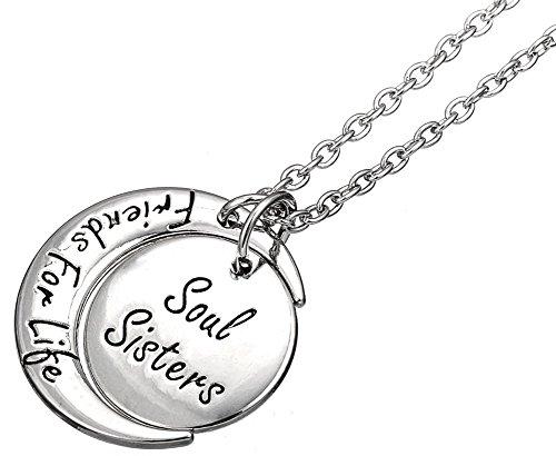 Lot de 2Soul Sisters amis pour la vie gravé Argenté assorti Colliers Bijoux Cadeau pour Best Friends Forever, BFF, Besties