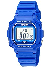 F108WH Water Resistant Digital Blue Resin Strap Watch