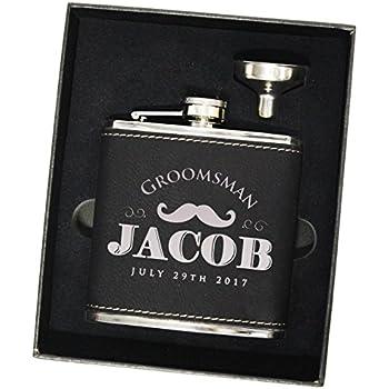 Custom Engraved Groomsman Flask Set - Personalized Groomsmen Gifts - WPS