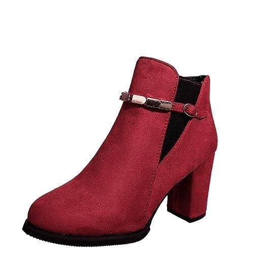 YSFU Botas Botines para Mujer Cadena De Metal Hebilla Zapatos De Tacón Grueso Zapatos De Tacón Bajo Antideslizantes Zapatos De Mujer Botines Botín Casual ...