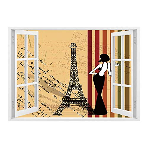 SCOCICI Peel and Stick Fabric Illusion 3D Wall Decal Photo Sticker/Paris City Decor,Grunge Background Classical Glamor Woman with Cigarette Fashion Pattern Retro Art,/Wall Sticker Mural ()