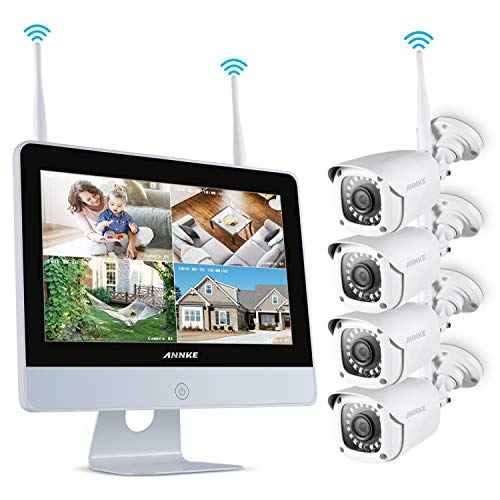 ANNKE 4CH 1080P FHD WiFi Wireless CCTV Camera System with 12''...