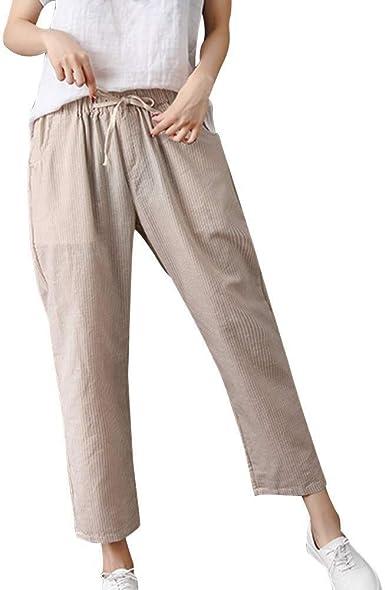 Pantalones De Lino Pantalon Suelto De Para Mujer De Mode De Marca Verano Pantalones Casuales A Rayas Para Mujer Tallas Grandes Pantalones Casuales De Lino De Algodon Cintura Elastica Pantalones Amazon Es Ropa