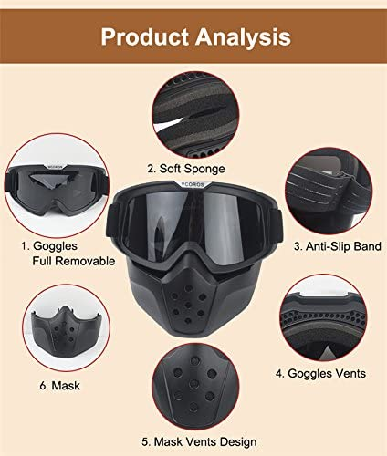Black Frame//Dk Smoke Lens Gen II VCOROS Modular Mask with Goggle /& Mouth Filter for 3//4 Open Face Motorcycle Helmets