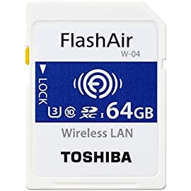 Toshiba FlashAir W-04 64 GB SDXC Class 10 Memory Card 2 Up to Seven Device At One Time: The FlashAir SD card acts as an access point allowing up to seven devices such as tablets, smartphones, and laptops to access the data stored within the card simultaneously. Simple Set Up: The FlashAir SD card follows the SD Memory card standard and is easy to set-up. Simply insert it into your digital camera or camcorder and you're ready to shoot and share. Stay Online: What's more, Internet Pass-Thru Mode allows you to access the web while still connected to the FlashAir SD card. So it's easy to share your latest shots with friends.