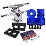 Cal 7 Longboard Truck and Wheel Combo Set (Silver truck with transparent blue wheels)