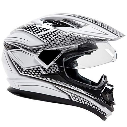 Silver Small Helmet - Full Face Dual Sport Helmet Off Road Motocross UTV ATV Motorcycle Enduro - Black & Silver - Small