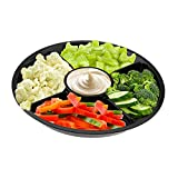 Party Bargains Serving Platter | 5 Compartment Disposable Round Platters for Coffee, Fruit, Dessert - 10 Inch | Pack of 10