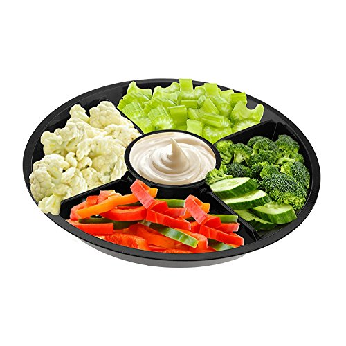 Party Bargains Serving Platter | 5 Compartment Disposable Round Party Tray for Coffee, Fruit, Dessert | 10 Inch Partyware | Black (10 Pk)