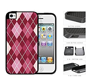 Preppy Argyle With Pink Variations 2-Piece Dual Layer High Impact Rubber Silicone Cell Phone Case Apple iPhone 4 4s