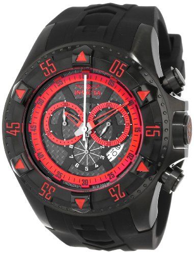 Invicta Men's 12690 Excursion Sport Chronograph Black Carbon Fiber Dial Black Silicone Watch ()