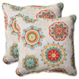 Pillow Perfect Indoor/Outdoor Fairington Aqua Corded Throw Pillow, 18.5-Inch, Set of 2