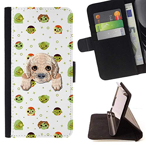 [ Cocker Spaniel ] Embroidered Cute Dog Puppy Leather Wallet Case for Huawei P8 Lite (2017) [ Halloween with Zombies Pattern -