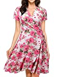 NINEXIS Womens Short Sleeve Surplice Wrap A-Line Dress FLORALCORAL L