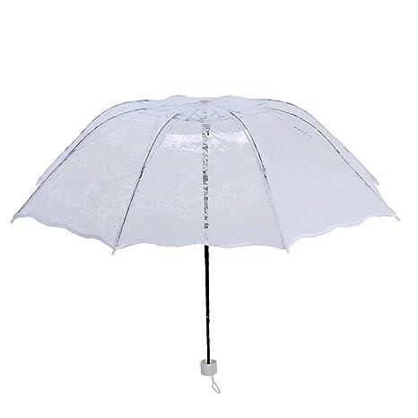 ToxTech Paraguas de encaje, forma romántica en forma de corazón de encaje paraguas de revestimiento