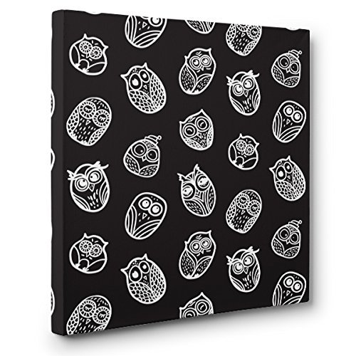 Black With White Owl Pattern CANVAS Wall Art Home Décor by Paper Blast